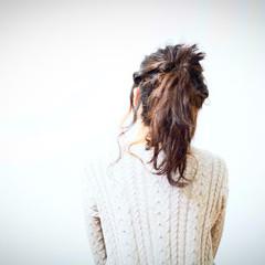 セミロング ショート ヘアアレンジ くるりんぱ ヘアスタイルや髪型の写真・画像