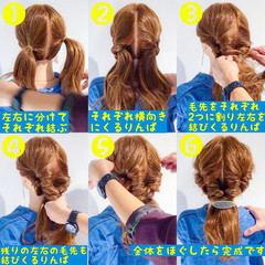 アウトドア ロング デート 簡単ヘアアレンジ ヘアスタイルや髪型の写真・画像
