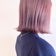 ショートヘア 透明感カラー チェリーピンク ボブ ヘアスタイルや髪型の写真・画像