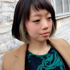 インナーカラー 外国人風 ボブ 暗髪 ヘアスタイルや髪型の写真・画像