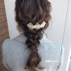 編みおろし 簡単ヘアアレンジ 結婚式ヘアアレンジ セミロング ヘアスタイルや髪型の写真・画像