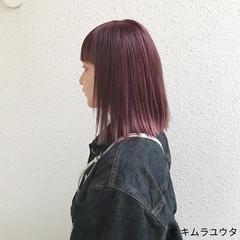 ボブ ガーリー カラーバター ピンク ヘアスタイルや髪型の写真・画像