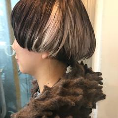 ニュアンス ハイライト ショート アッシュ ヘアスタイルや髪型の写真・画像
