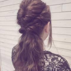 ゆるふわ ヘアアレンジ くるりんぱ フェミニン ヘアスタイルや髪型の写真・画像
