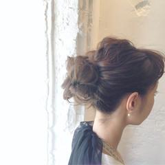 簡単ヘアアレンジ ヘアアレンジ お団子 セミロング ヘアスタイルや髪型の写真・画像