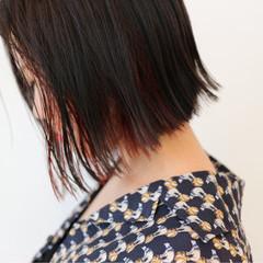 ボブ インナーカラー 外国人風 レッド ヘアスタイルや髪型の写真・画像