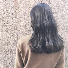 ドライフラワー セミロング ナチュラル グレージュ ヘアスタイルや髪型の写真・画像
