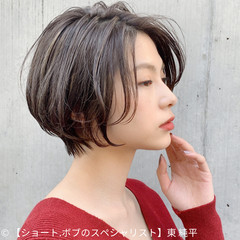 丸みショート ショートヘア ナチュラル コンパクトショート ヘアスタイルや髪型の写真・画像
