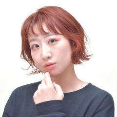 ショートボブ オレンジ ボブ オレンジカラー ヘアスタイルや髪型の写真・画像