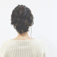 三つ編み くるりんぱ 簡単ヘアアレンジ ヘアアレンジ ヘアスタイルや髪型の写真・画像