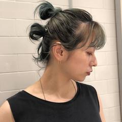 ストリート ウルフカット セルフヘアアレンジ お団子アレンジ ヘアスタイルや髪型の写真・画像