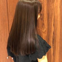 セミロング ロブ ストレート パーマ ヘアスタイルや髪型の写真・画像