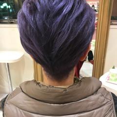 ブリーチ ブルー ショート パープル ヘアスタイルや髪型の写真・画像