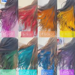 派手髪 裾カラー セミロング ハイトーン ヘアスタイルや髪型の写真・画像
