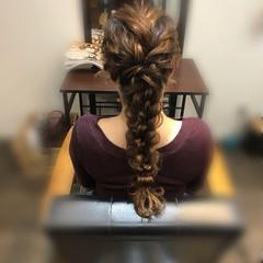 ロング ヘアアレンジ フェミニン 編みおろしヘア ヘアスタイルや髪型の写真・画像