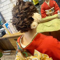 成人式 ミディアム 和装ヘア エレガント ヘアスタイルや髪型の写真・画像
