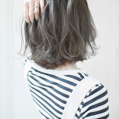 ボブ ミルクティー フリンジバング ニュアンス ヘアスタイルや髪型の写真・画像