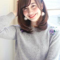 黒髪 ゆるふわ ミディアム 冬 ヘアスタイルや髪型の写真・画像