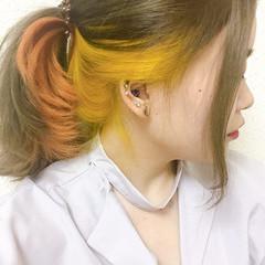 グラデーション ガーリー インナーカラー ハイトーン ヘアスタイルや髪型の写真・画像