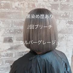 ナチュラル シルバーグレージュ デート ボブ ヘアスタイルや髪型の写真・画像