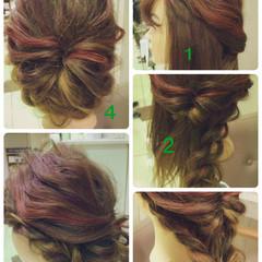 簡単ヘアアレンジ ヘアアレンジ 大人かわいい 編み込み ヘアスタイルや髪型の写真・画像