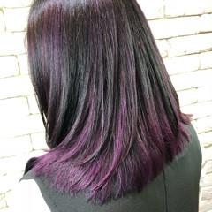 インナーカラーパープル ストリート 紫 パープル ヘアスタイルや髪型の写真・画像
