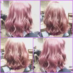 グラデーションカラー ゆるふわ ボブ ガーリー ヘアスタイルや髪型の写真・画像