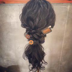 ウェーブ ゆるふわ 簡単ヘアアレンジ フェミニン ヘアスタイルや髪型の写真・画像