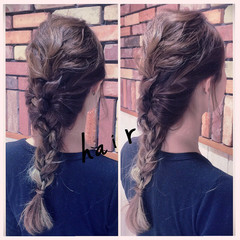 三つ編み 波ウェーブ ヘアアレンジ ディズニー ヘアスタイルや髪型の写真・画像