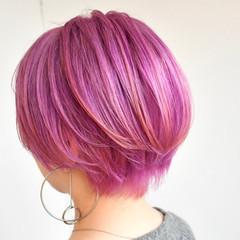 ピンクパープル モード ラズベリーピンク ベリーピンク ヘアスタイルや髪型の写真・画像