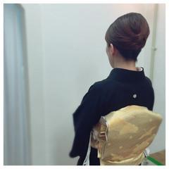着物 ミディアム アップスタイル 結婚式 ヘアスタイルや髪型の写真・画像