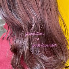 ラベンダー ピンク ピンクラベンダー ガーリー ヘアスタイルや髪型の写真・画像