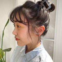 ふわふわヘアアレンジ 透け感ヘア 透け透け ミディアム ヘアスタイルや髪型の写真・画像