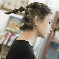 インナーカラー ストリート 簡単ヘアアレンジ スポーツ ヘアスタイルや髪型の写真・画像