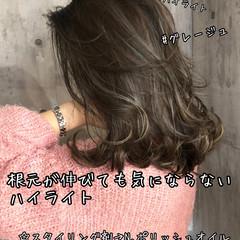 ハイライト 地毛ハイライト コントラストハイライト セミロング ヘアスタイルや髪型の写真・画像