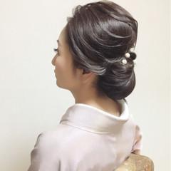 上品 エレガント セミロング 着物 ヘアスタイルや髪型の写真・画像