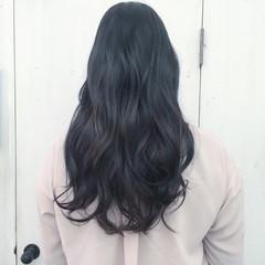 ネイビー 黒髪 ブルーアッシュ ブルー ヘアスタイルや髪型の写真・画像