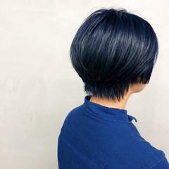 ジェンダーレス ネイビー ブルー モード ヘアスタイルや髪型の写真・画像