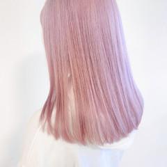 パステルカラー 透明感カラー ブリーチオンカラー ピンク ヘアスタイルや髪型の写真・画像