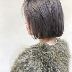 エレガント 切りっぱなしボブ ミニボブ ラベンダーアッシュ ヘアスタイルや髪型の写真・画像
