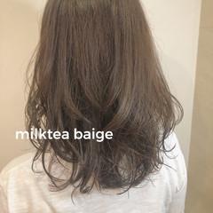 切りっぱなしボブ モテボブ ナチュラル ミディアムヘアー ヘアスタイルや髪型の写真・画像