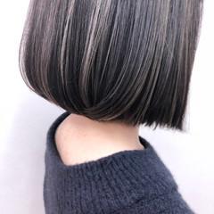 モード 切りっぱなし ハイライト ボブ ヘアスタイルや髪型の写真・画像