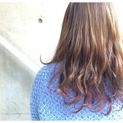 グラデーションカラー セミロング ダブルカラー ガーリー ヘアスタイルや髪型の写真・画像