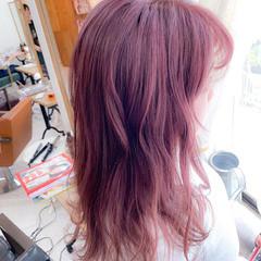 ピンクラベンダー ラズベリーピンク ラベンダーピンク ミディアム ヘアスタイルや髪型の写真・画像