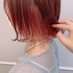 フェミニン 切りっぱなしボブ ボブ インナーカラー ヘアスタイルや髪型の写真・画像