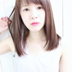 縮毛矯正 ナチュラル ストレート シースルーバング ヘアスタイルや髪型の写真・画像