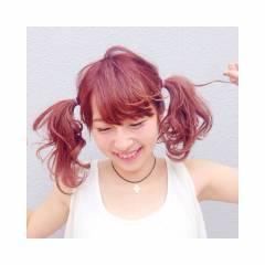 かわいい ピンク セミロング ツインテール ヘアスタイルや髪型の写真・画像
