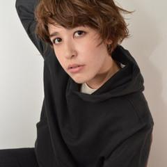 透明感 ショート 秋 ウェーブ ヘアスタイルや髪型の写真・画像