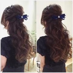 外国人風 ガーリー ヘアアレンジ ハーフアップ ヘアスタイルや髪型の写真・画像