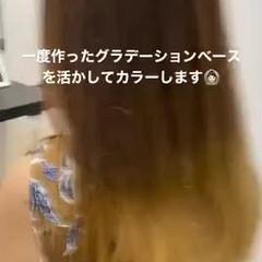 韓国ヘア グレージュ セミロング 地毛風カラー ヘアスタイルや髪型の写真・画像
